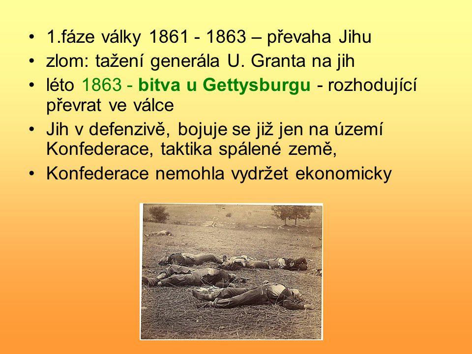 1.fáze války 1861 - 1863 – převaha Jihu