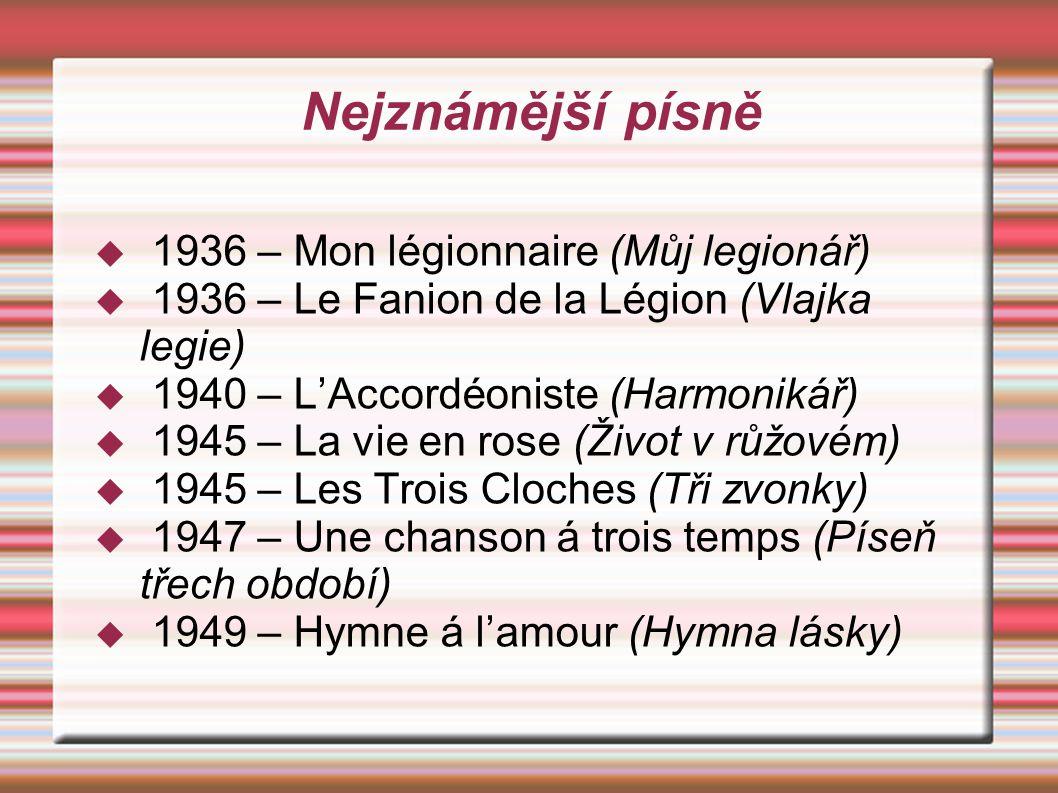Nejznámější písně 1936 – Mon légionnaire (Můj legionář)