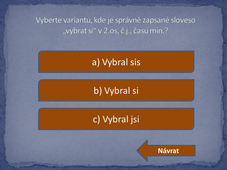 a) Vybral sis b) Vybral si c) Vybral jsi