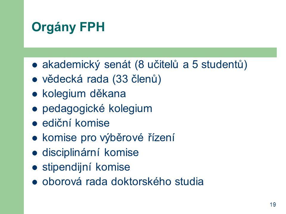 Orgány FPH akademický senát (8 učitelů a 5 studentů)