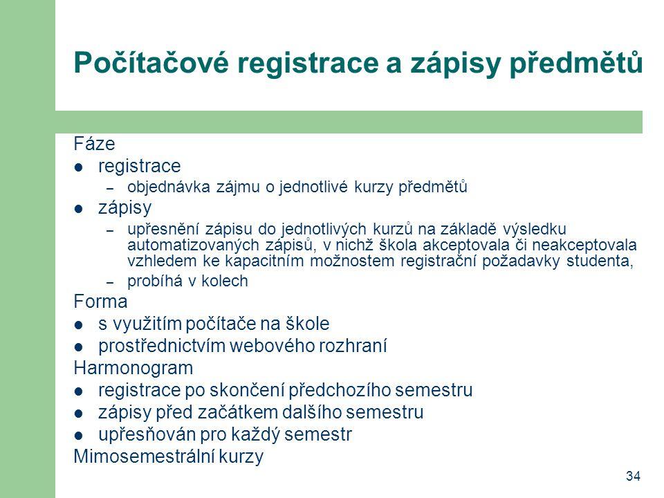Počítačové registrace a zápisy předmětů