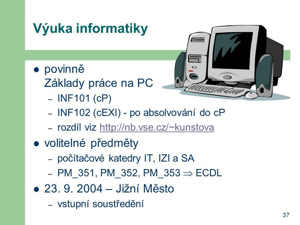 Výuka informatiky povinně Základy práce na PC volitelné předměty