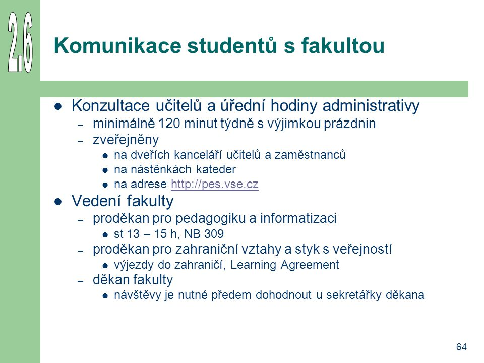 Komunikace studentů s fakultou