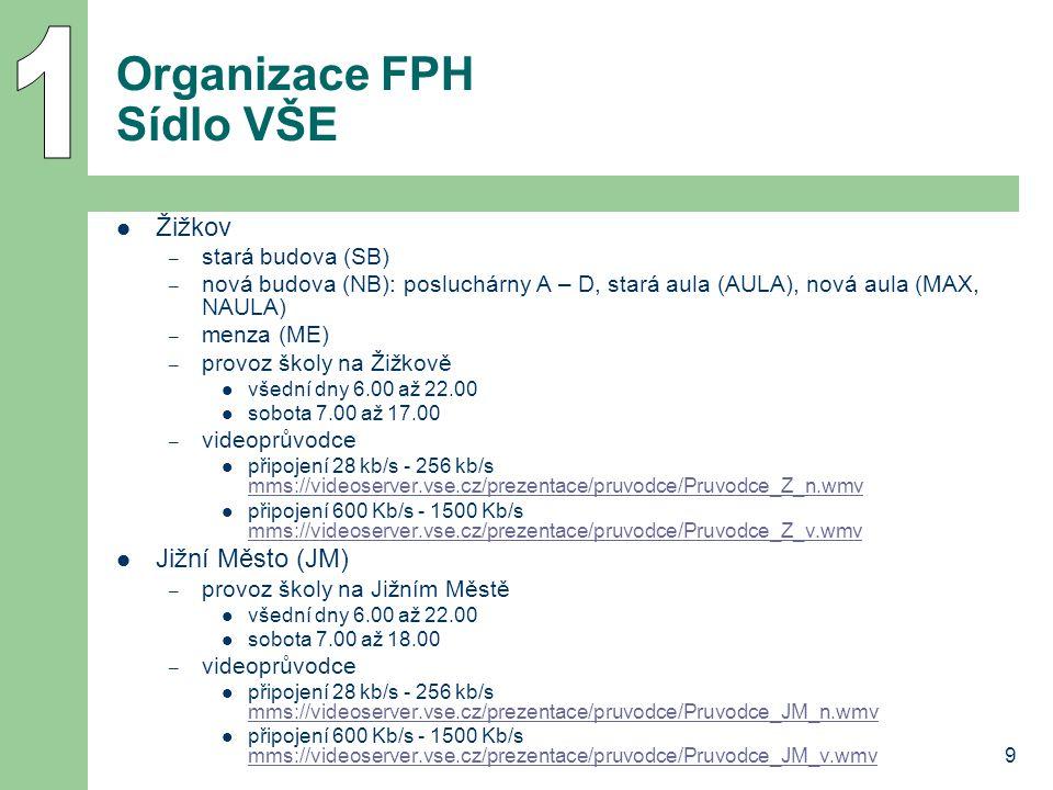 Organizace FPH Sídlo VŠE
