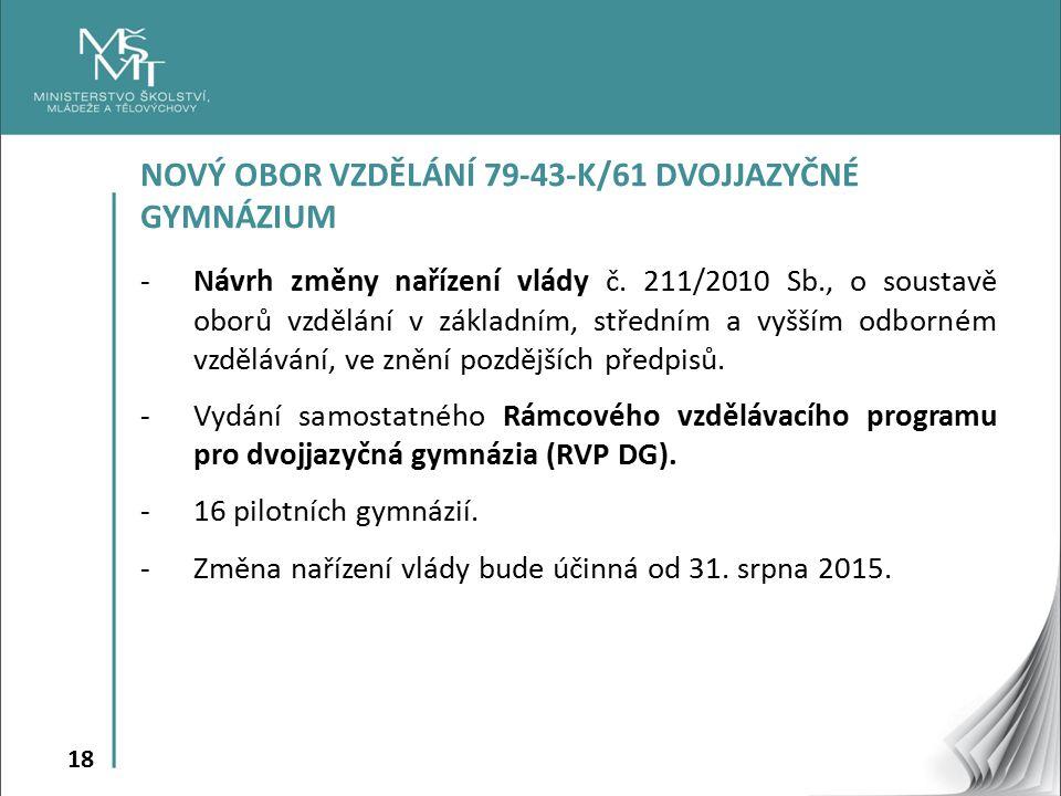 NOVÝ OBOR VZDĚLÁNÍ 79-43-K/61 DVOJJAZYČNÉ GYMNÁZIUM