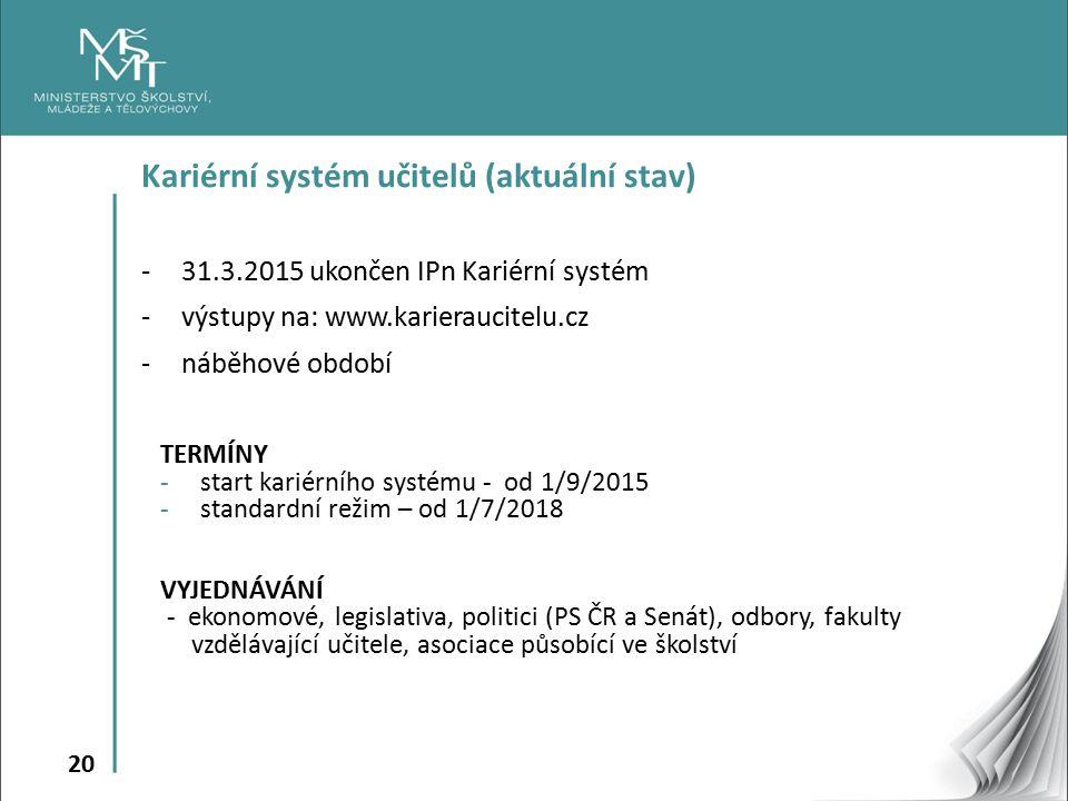 Kariérní systém učitelů (aktuální stav)