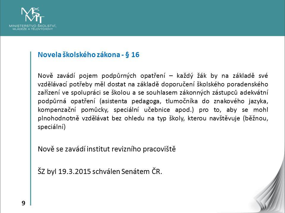 Novela školského zákona - § 16