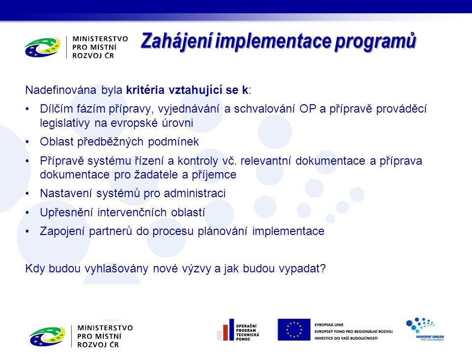 Zahájení implementace programů