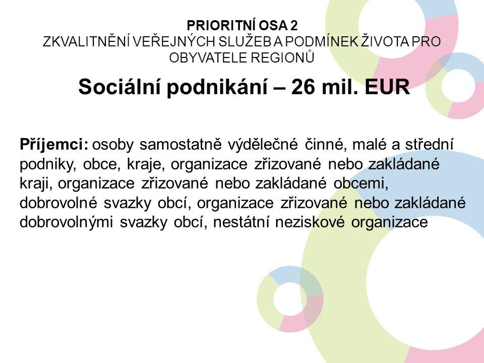 Sociální podnikání – 26 mil. EUR