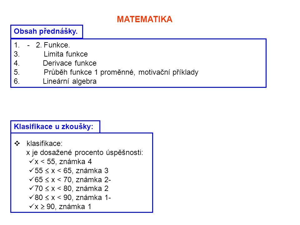 MATEMATIKA Obsah přednášky. - 2. Funkce. 3. Limita funkce