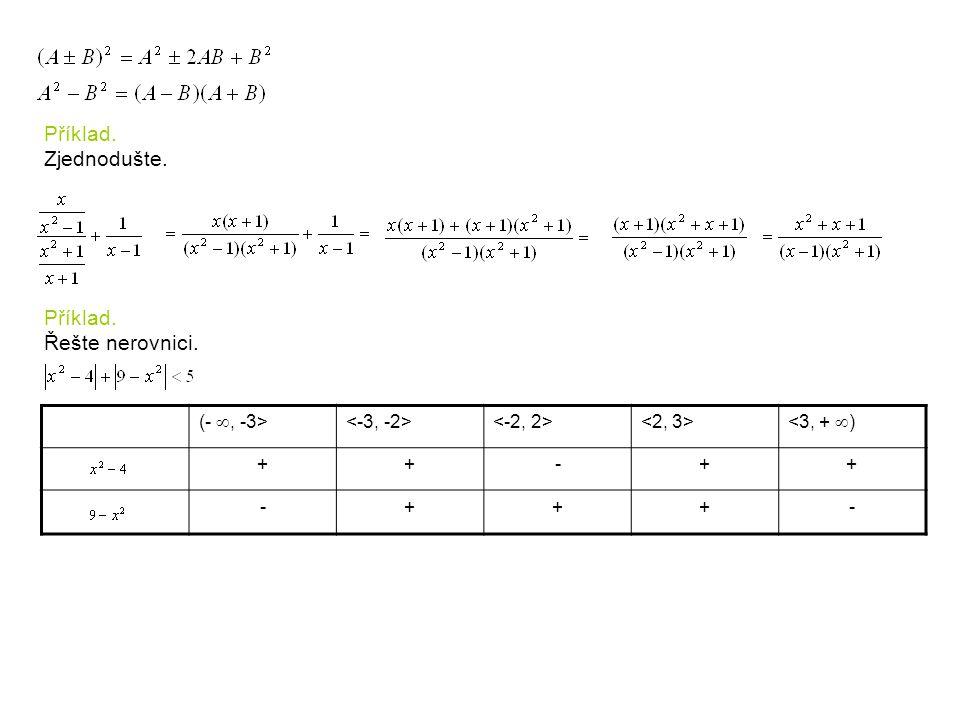 Příklad. Zjednodušte. Příklad. Řešte nerovnici. (- , -3>