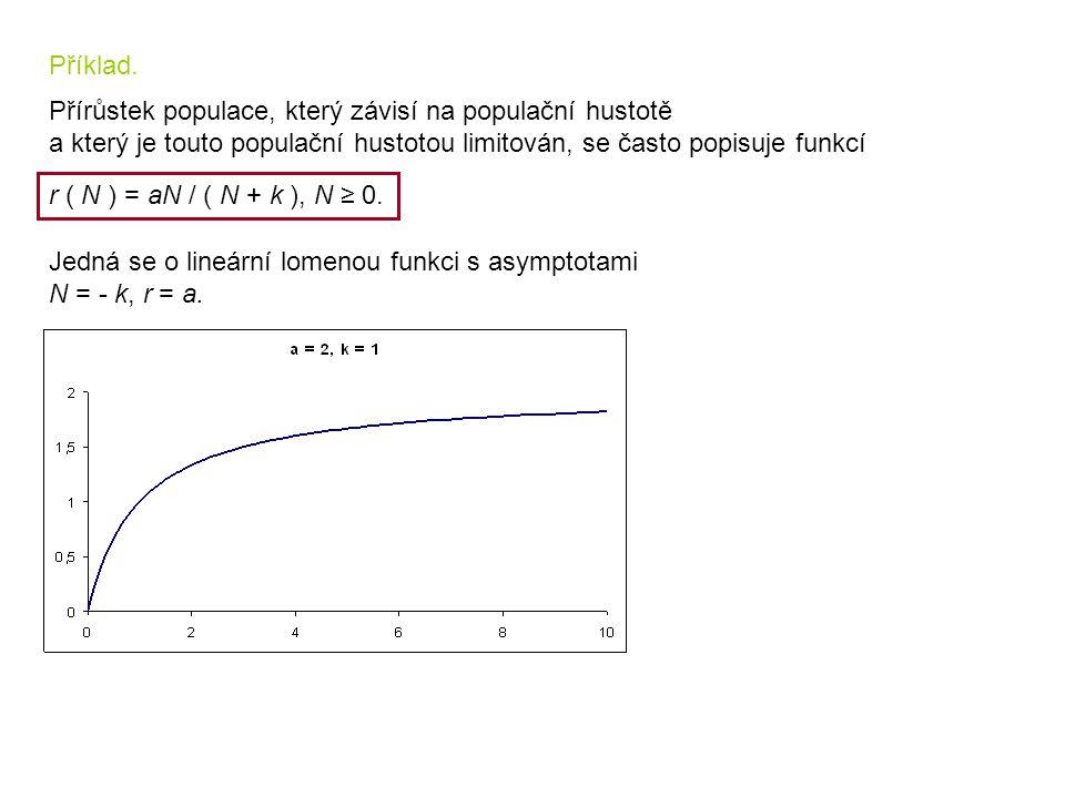 Příklad. Přírůstek populace, který závisí na populační hustotě. a který je touto populační hustotou limitován, se často popisuje funkcí.