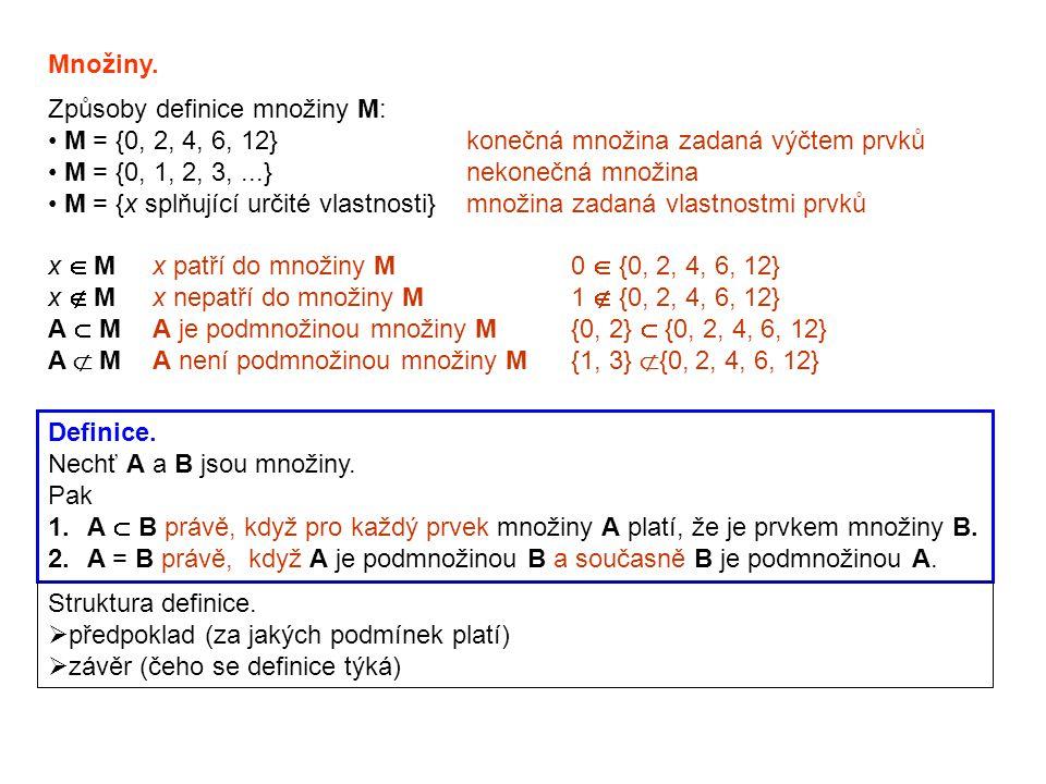 Množiny. Způsoby definice množiny M: M = {0, 2, 4, 6, 12} konečná množina zadaná výčtem prvků. M = {0, 1, 2, 3, ...} nekonečná množina.