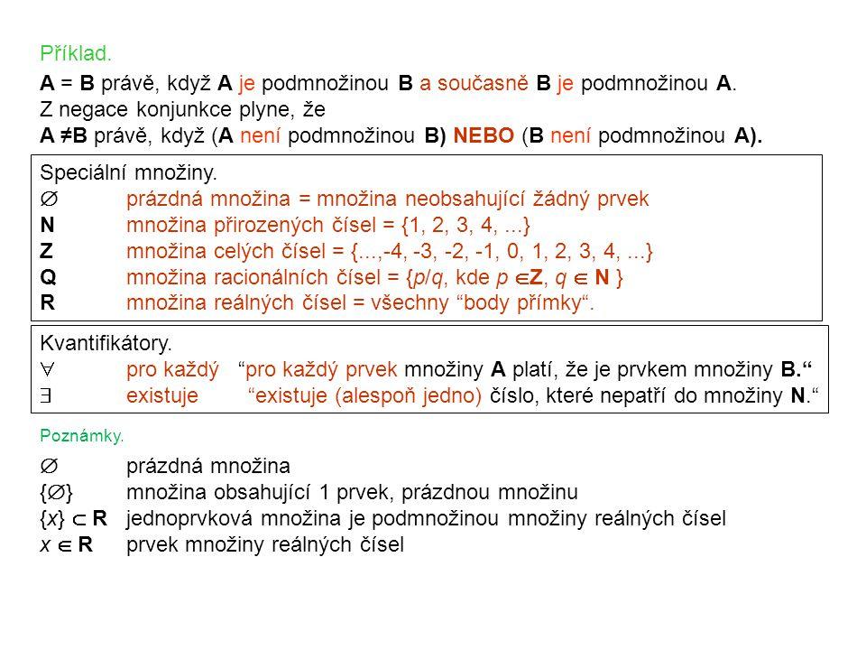 A = B právě, když A je podmnožinou B a současně B je podmnožinou A.