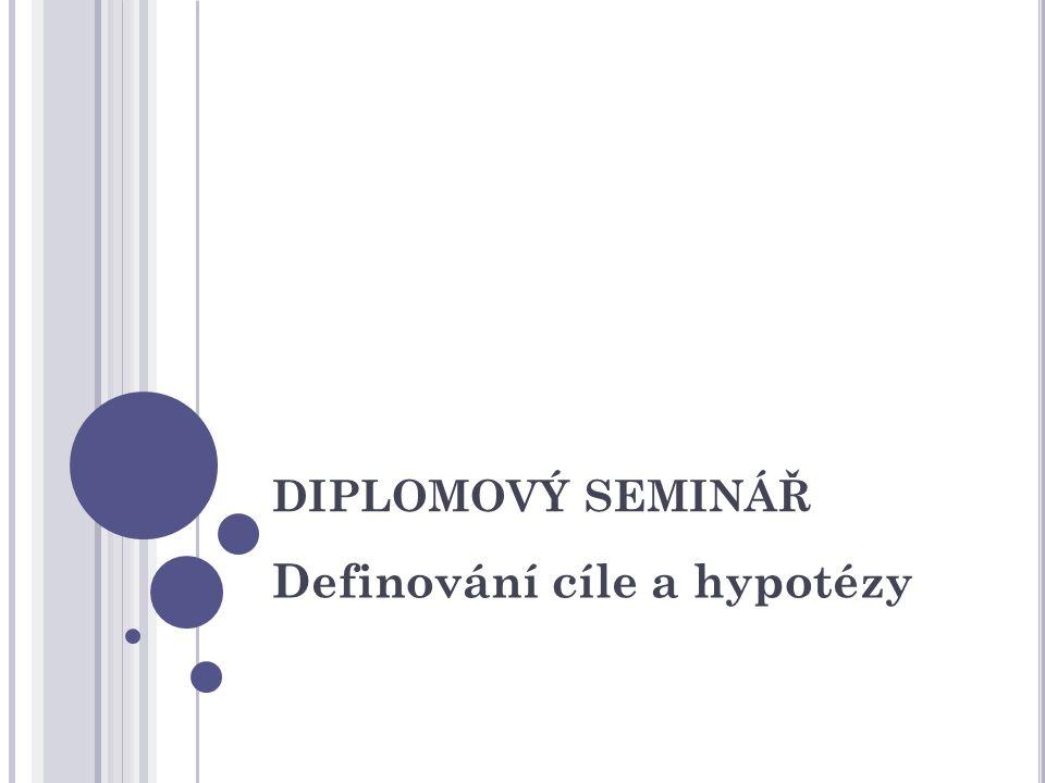 Definování cíle a hypotézy