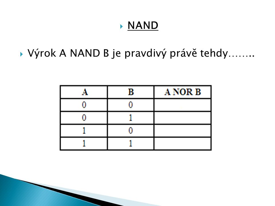 NAND Výrok A NAND B je pravdivý právě tehdy……..