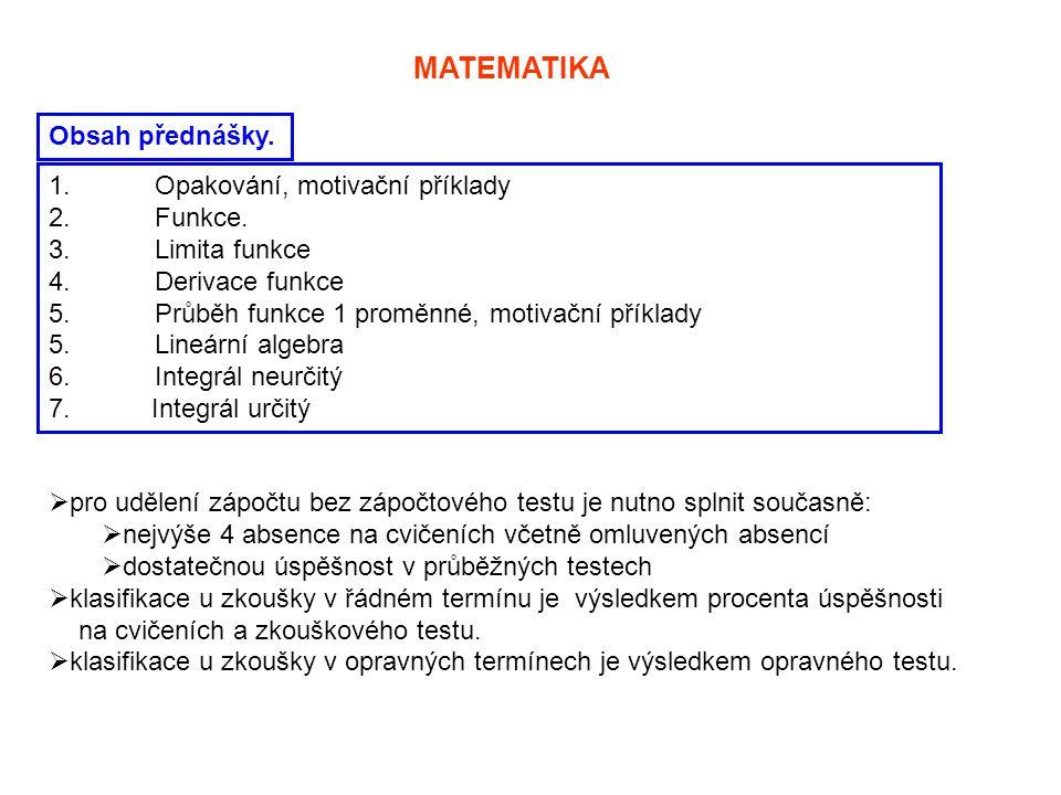 MATEMATIKA Obsah přednášky. Opakování, motivační příklady Funkce.