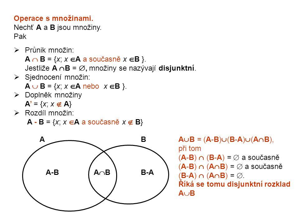 Operace s množinami. Nechť A a B jsou množiny. Pak. Průnik množin: A  B = {x; x A a současně x B }.