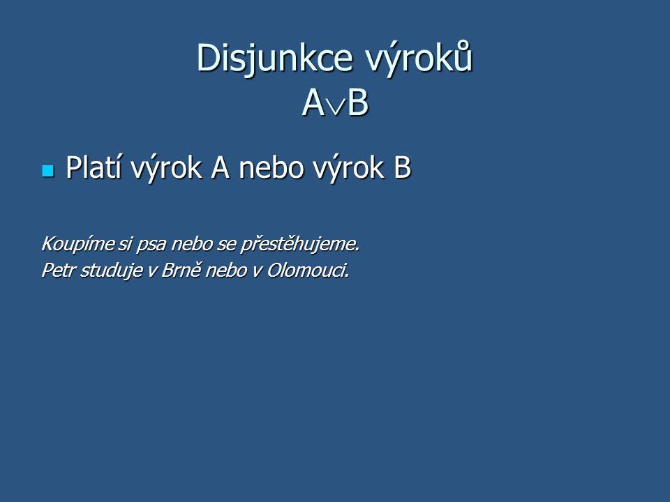 Disjunkce výroků AB Platí výrok A nebo výrok B
