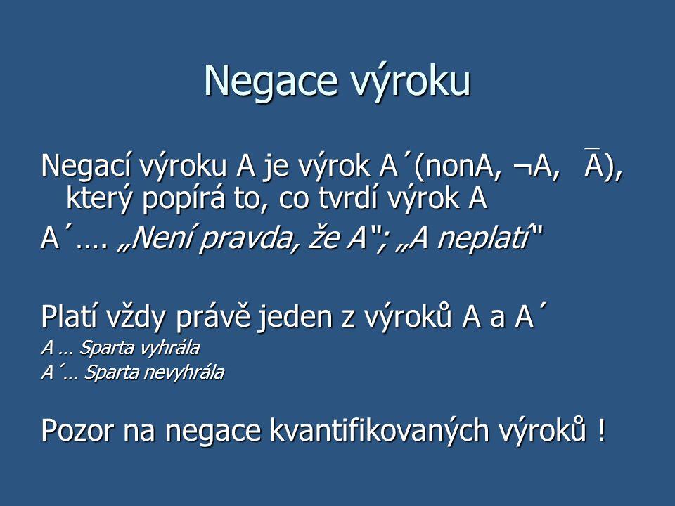 """Negace výroku Negací výroku A je výrok A´(nonA, ¬A, A), který popírá to, co tvrdí výrok A. A´…. """"Není pravda, že A ; """"A neplatí"""