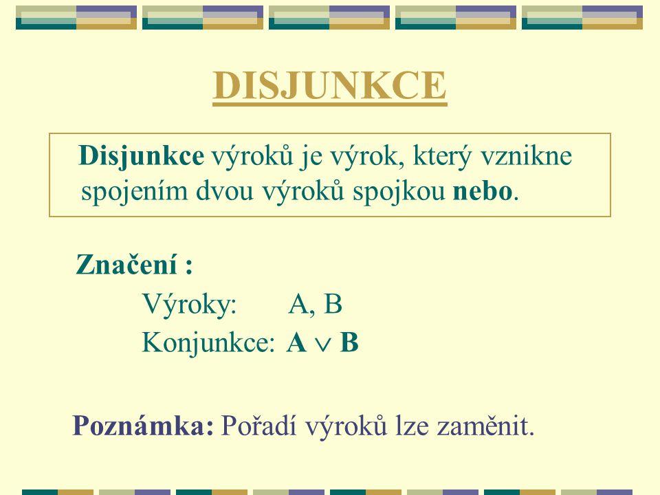 DISJUNKCE Disjunkce výroků je výrok, který vznikne spojením dvou výroků spojkou nebo. Značení : Výroky: A, B.