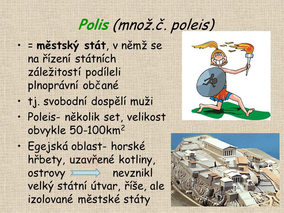 Polis (množ.č. poleis) = městský stát, v němž se na řízení státních záležitostí podíleli plnoprávní občané.