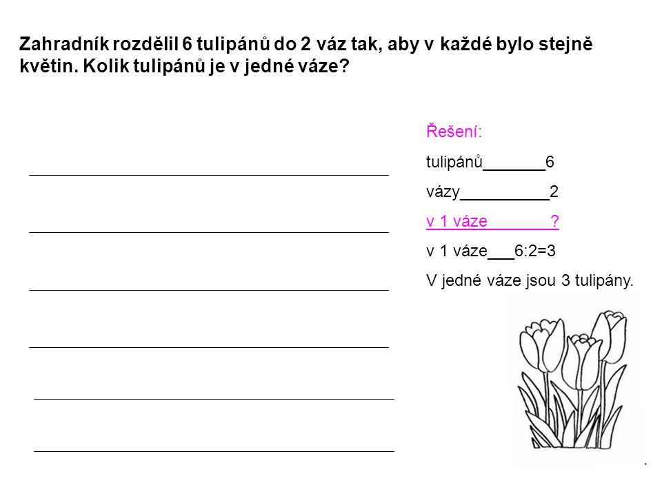 Zahradník rozdělil 6 tulipánů do 2 váz tak, aby v každé bylo stejně květin. Kolik tulipánů je v jedné váze