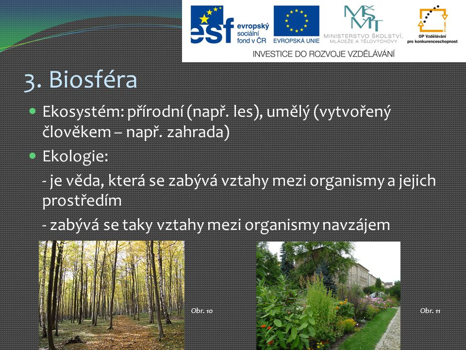 3. Biosféra Ekosystém: přírodní (např. les), umělý (vytvořený člověkem – např. zahrada) Ekologie: