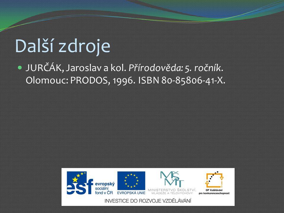 Další zdroje JURČÁK, Jaroslav a kol. Přírodověda: 5.