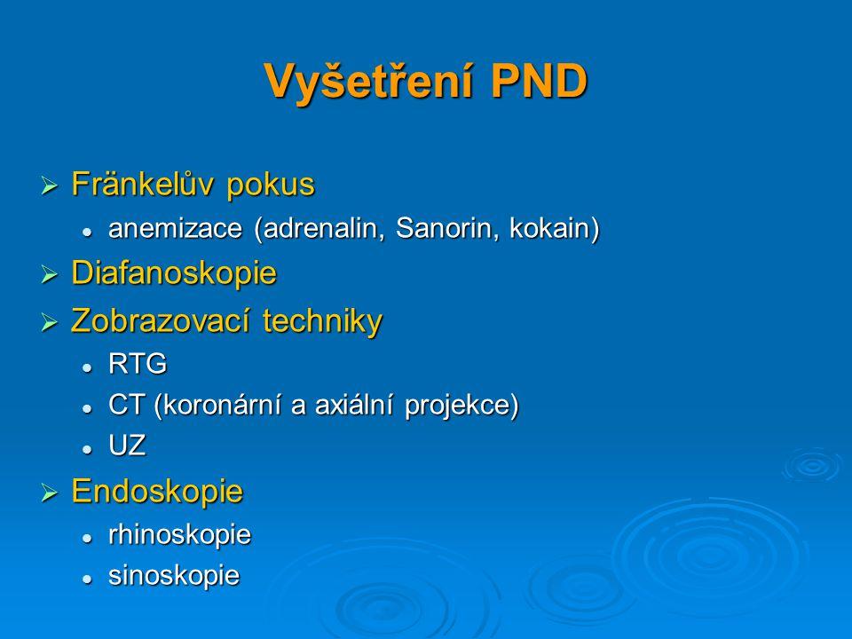 Vyšetření PND Fränkelův pokus Diafanoskopie Zobrazovací techniky