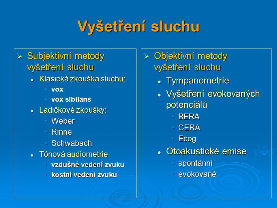 Vyšetření sluchu Subjektivní metody vyšetření sluchu