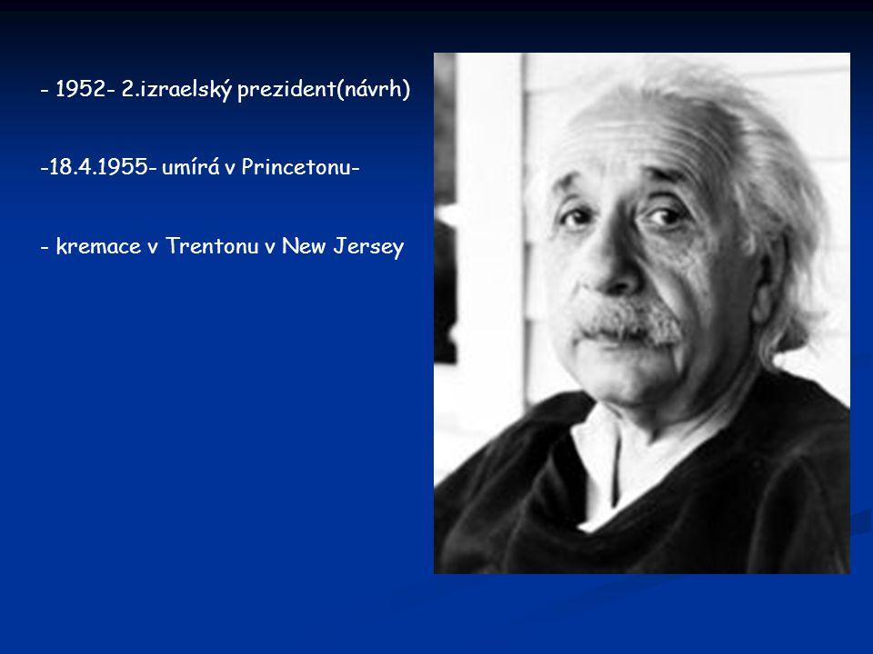 - 1952- 2.izraelský prezident(návrh)