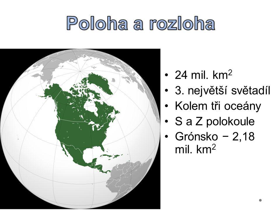 Poloha a rozloha 24 mil. km2 3. největší světadíl Kolem tři oceány