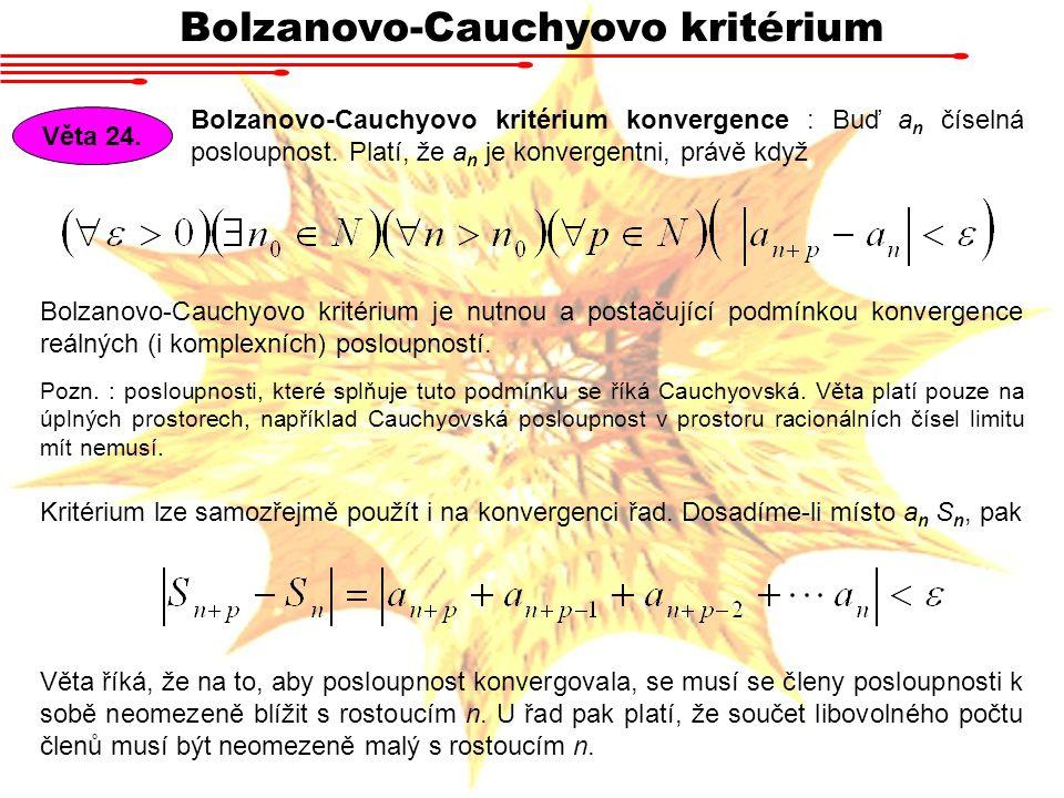 Bolzanovo-Cauchyovo kritérium