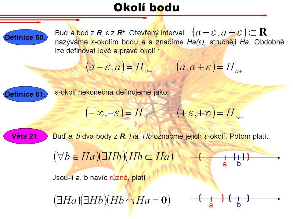 Okolí bodu Buď a bod z R, ε z R+. Otevřený interval Definice 60.