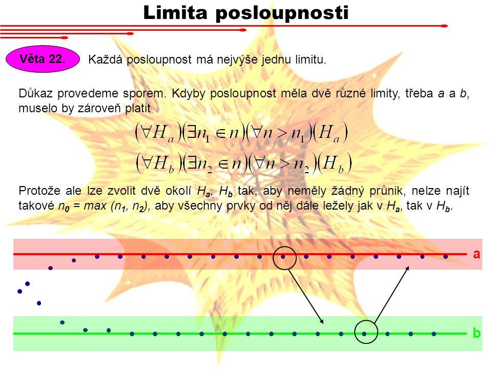 Limita posloupnosti a b Věta 22.