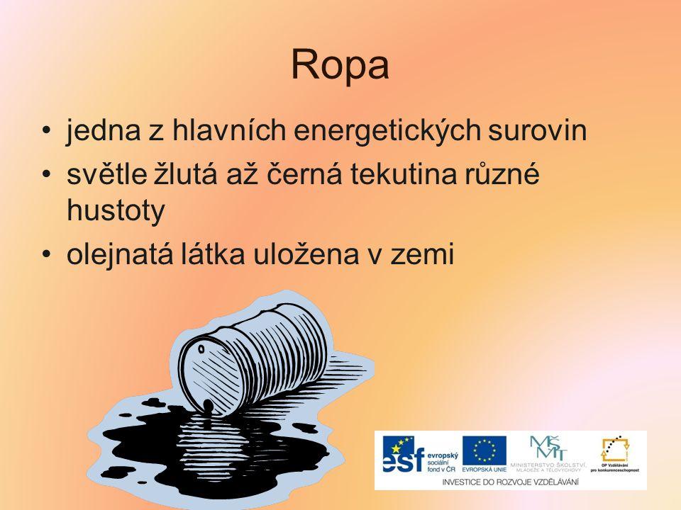 Ropa jedna z hlavních energetických surovin