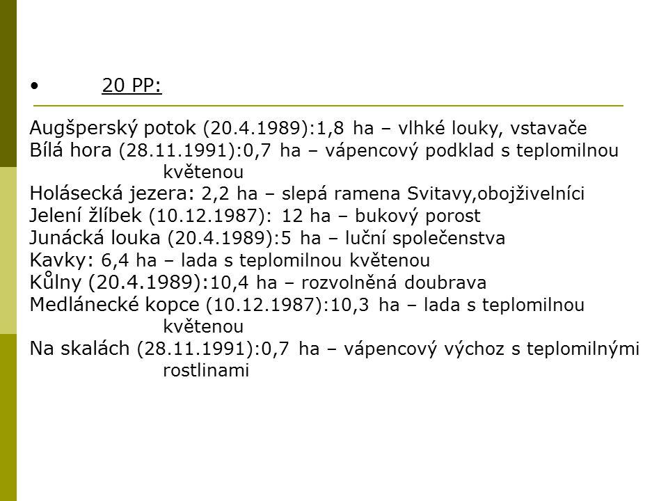 20 PP: Augšperský potok (20.4.1989):1,8 ha – vlhké louky, vstavače. Bílá hora (28.11.1991):0,7 ha – vápencový podklad s teplomilnou květenou.