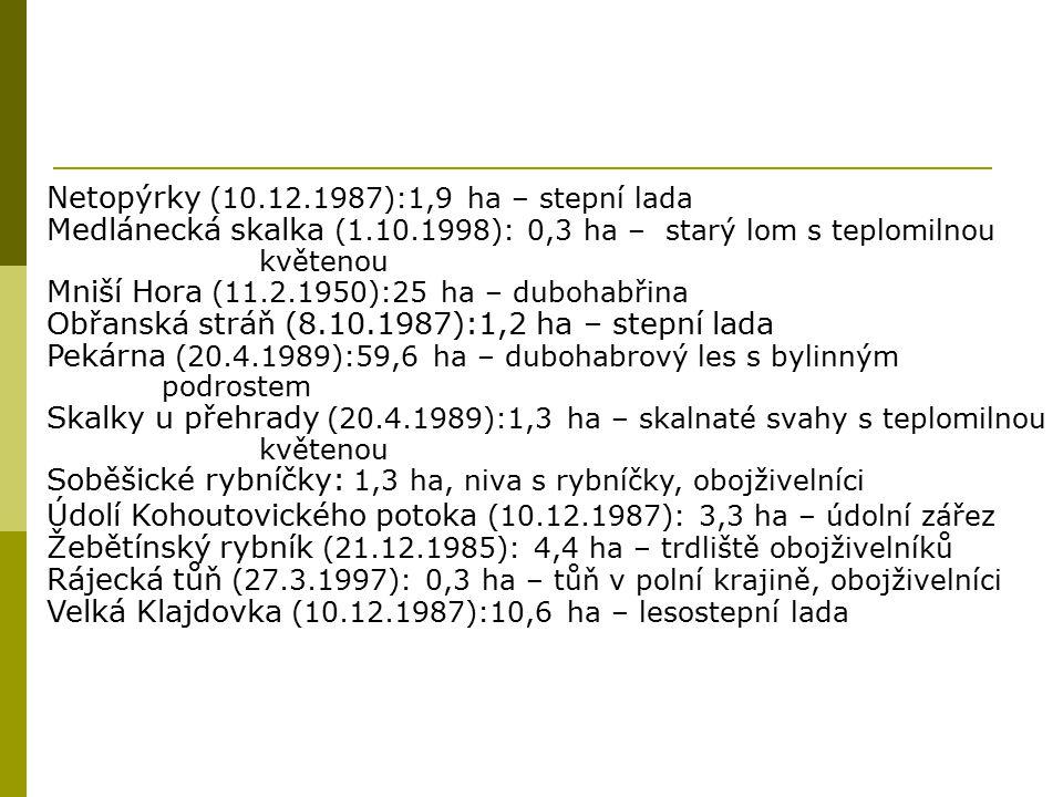 Netopýrky (10.12.1987):1,9 ha – stepní lada
