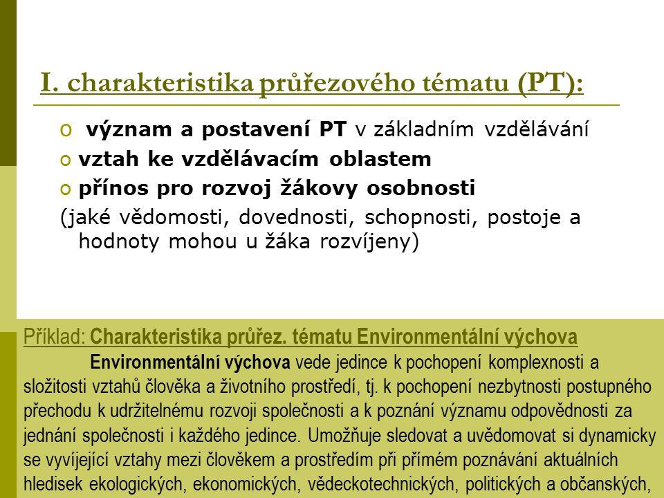 I. charakteristika průřezového tématu (PT):