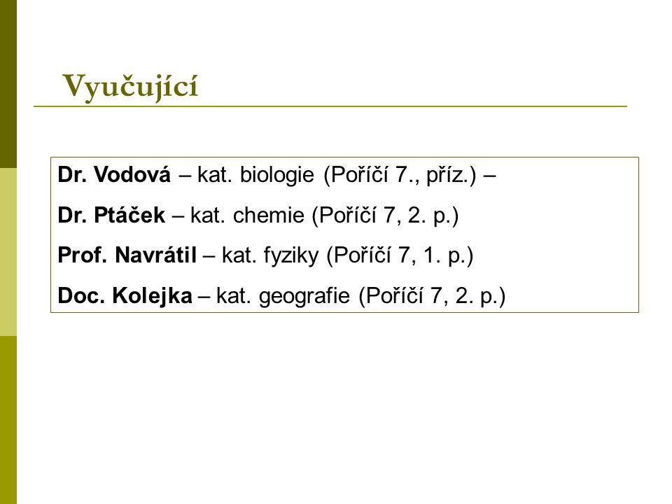 Vyučující Dr. Vodová – kat. biologie (Poříčí 7., příz.) –