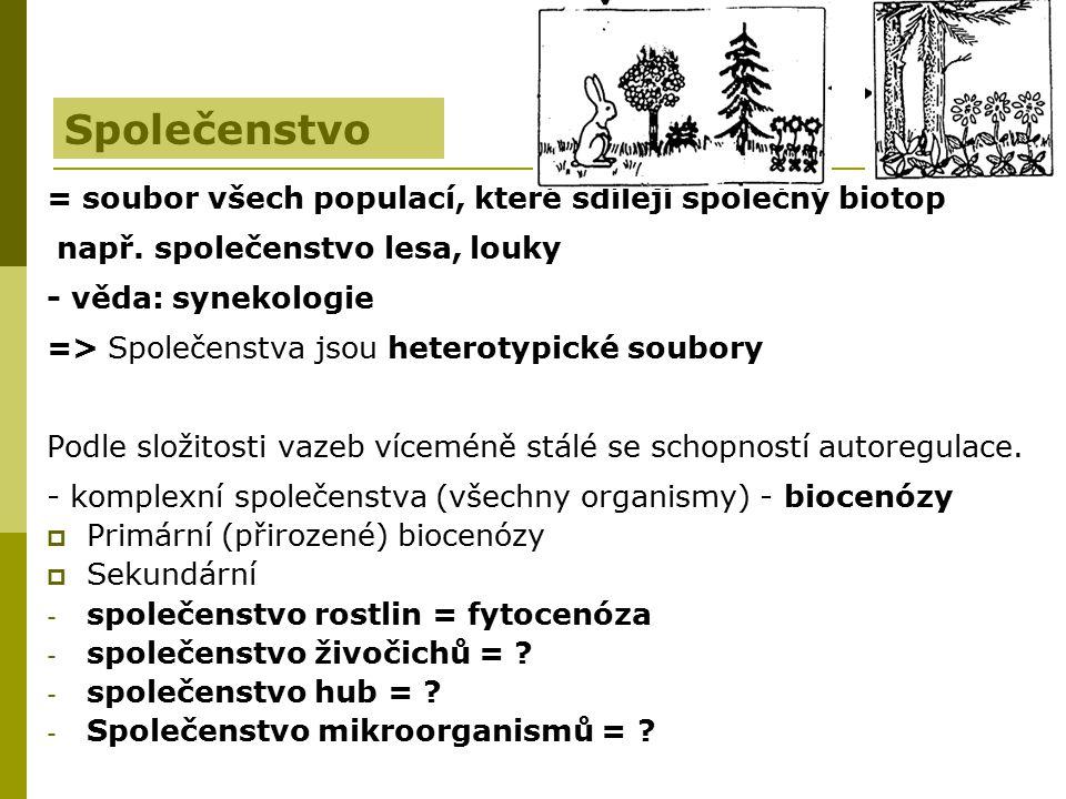 Společenstvo = soubor všech populací, které sdílejí společný biotop