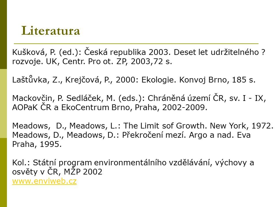 Literatura Kušková, P. (ed.): Česká republika 2003. Deset let udržitelného rozvoje. UK, Centr. Pro ot. ZP, 2003,72 s.