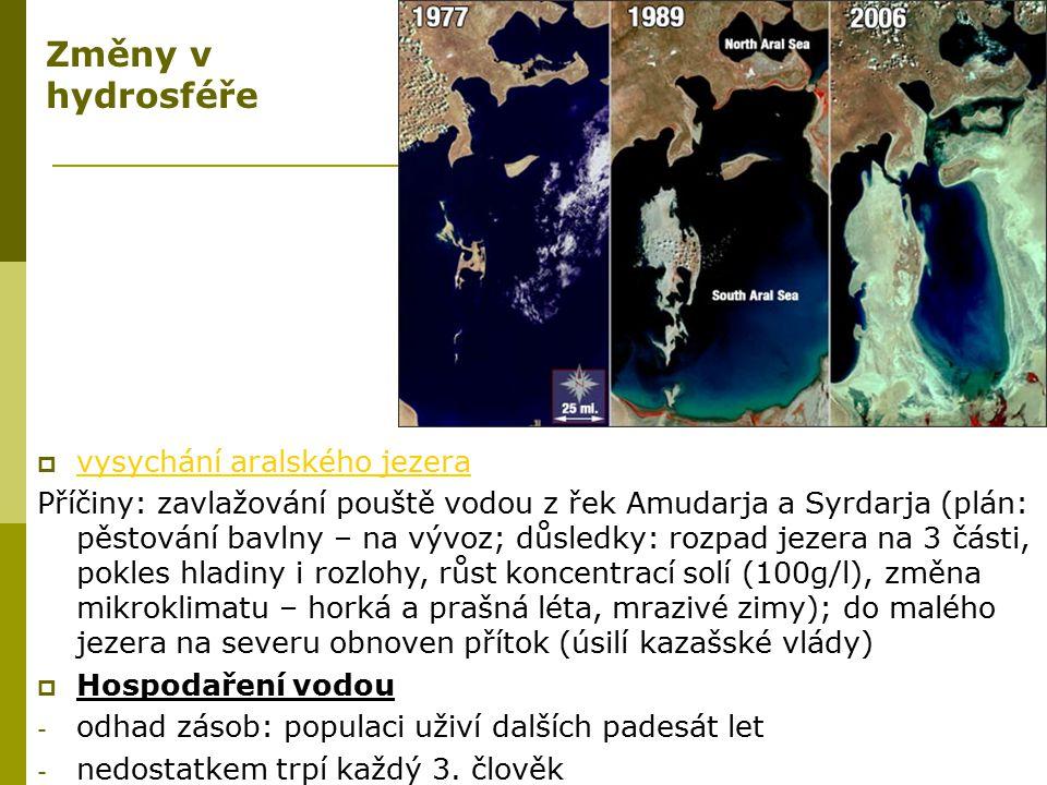Změny v hydrosféře vysychání aralského jezera