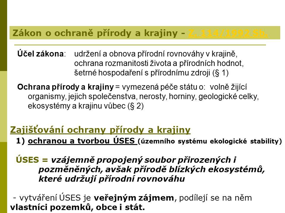 Zákon o ochraně přírody a krajiny - Z. 114/1992 Sb.
