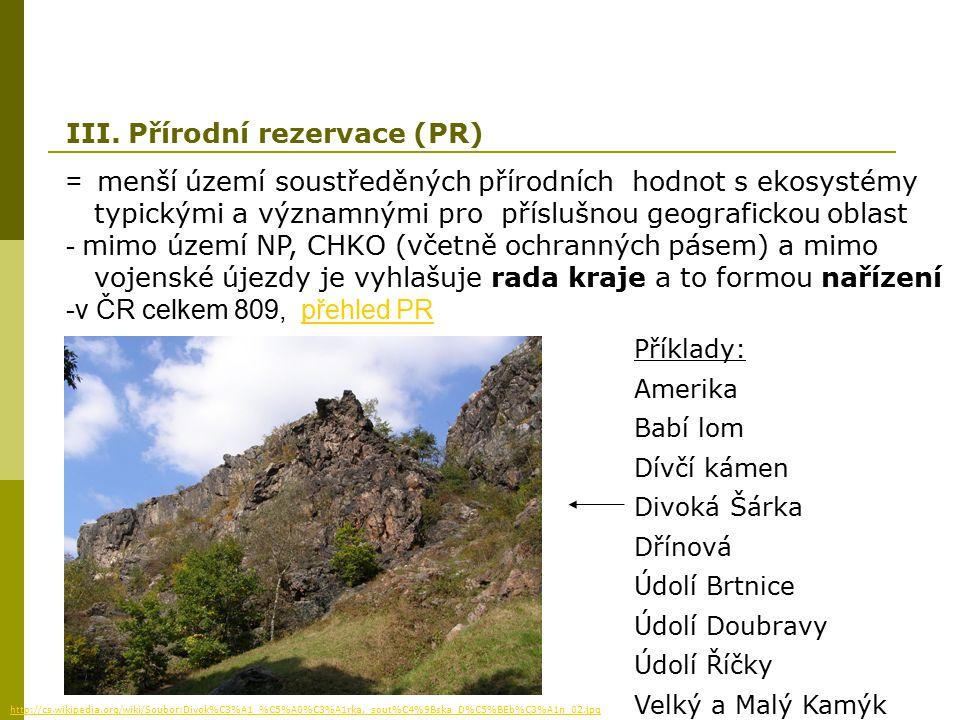 III. Přírodní rezervace (PR)