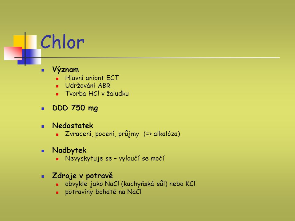 Chlor Význam DDD 750 mg Nedostatek Nadbytek Zdroje v potravě