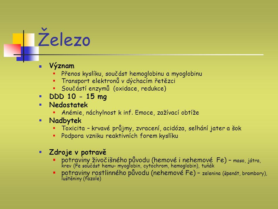 Železo Význam DDD 10 - 15 mg Nedostatek Nadbytek Zdroje v potravě