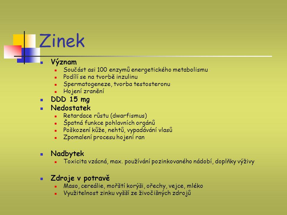 Zinek Význam DDD 15 mg Nedostatek Nadbytek Zdroje v potravě