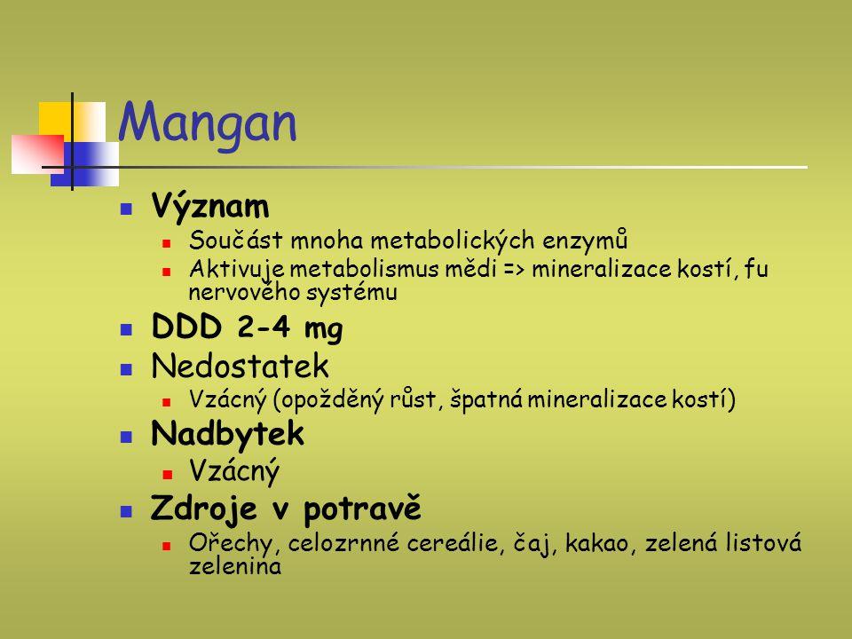 Mangan Význam DDD 2-4 mg Nedostatek Nadbytek Zdroje v potravě Vzácný